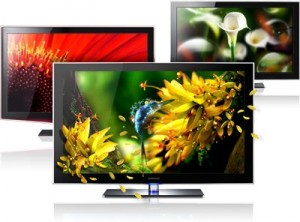 3 LED tv schermen